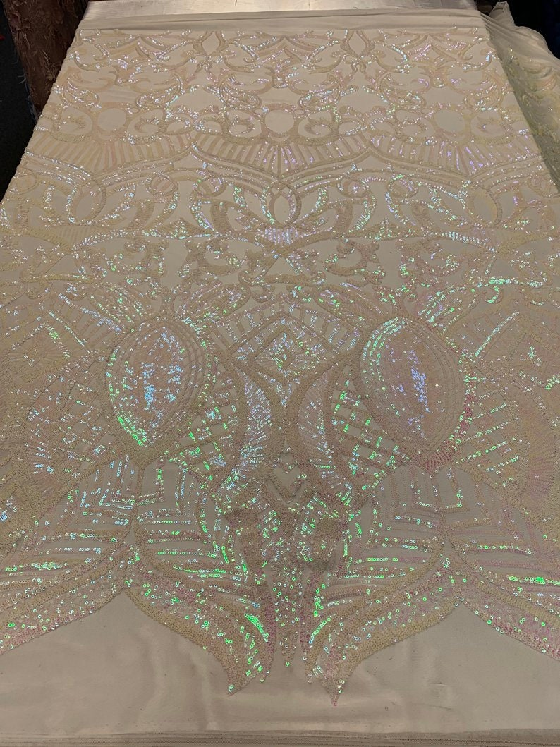 PinkWhite 4 Way Stretch Sequins Geometric Design For Wedding,Tablecloth Embroidered Mesh Lace Fabric By The Yard LACITYFABRIC Iridescent