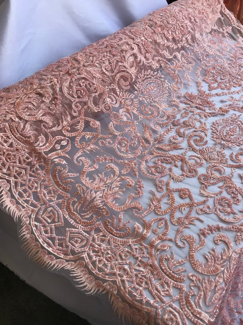 EMBROIDERY Lace By The Yard GEOMETRIC Beaded Mesh Lace FabricDusty Pink Bridal WeddingClothingDressesJacketsApplicationsTable cover