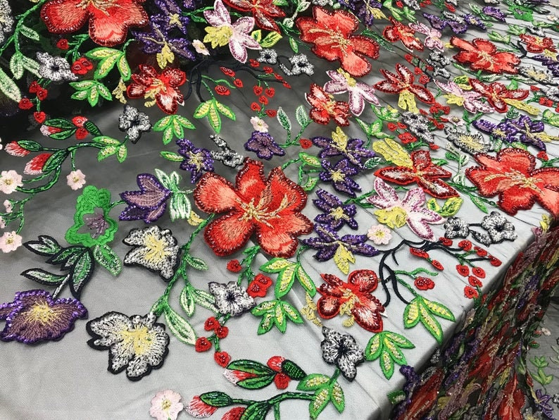 LACITYFABRICMULTI COLORHandmade Beaded Mesh LaceBy Yard FabricBridalWeddingDressesSkirtsApplicationsTable CoversRunnersJackets