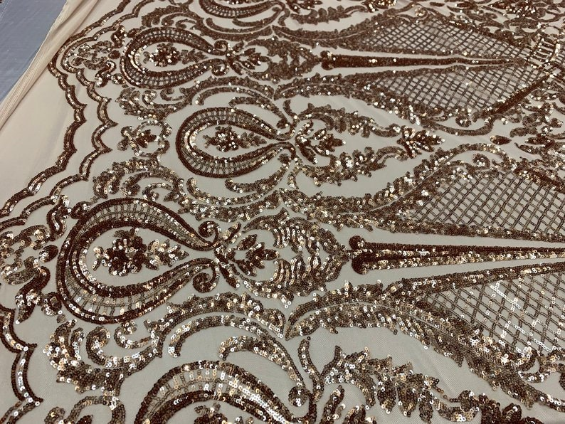 NEW ITALIAN DesignChampagneSequins Mesh Lace Fabric ByThe Yard4 Way Stretch Sequins Geometric Iridescent On A Blush MeshdressTablecloth