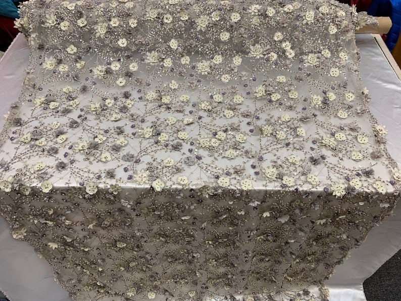 Gray Beaded Faux Pearls FloralFlowers Embroidered Mesh Beaded Lace Handmade Design Fabric IvoryMauve Night gownsProm Dresses By The Yard