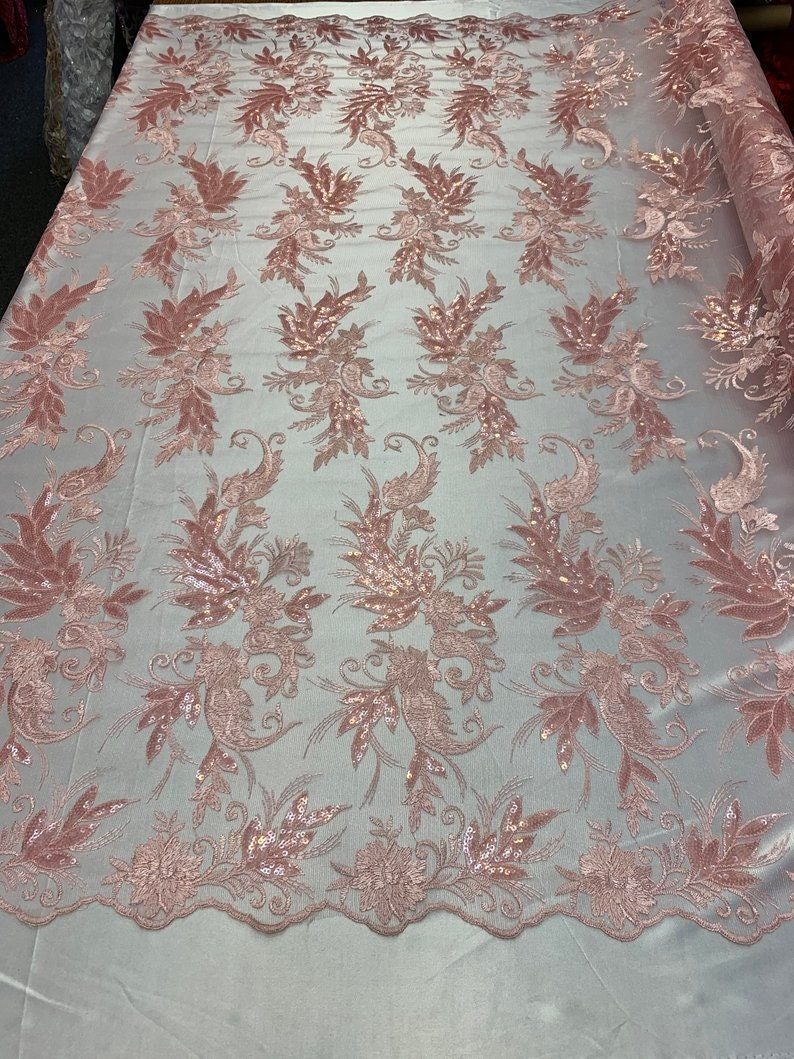 Pink For Top DressesNight GownsTableclothsskirts Modern Flowers Lace With Sequins Floral Embroidered Mesh Lace Fabric By The Yard