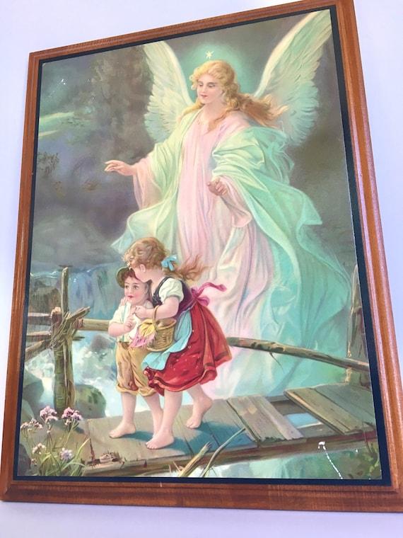 Guardian Angel I by Lindberg Heilige Schutzengel Art Print of Vintage Art