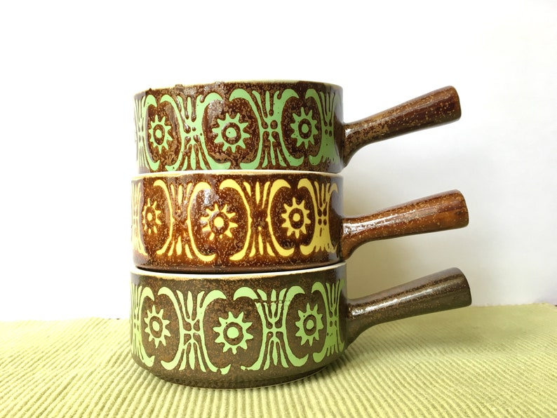 Otagiri Style French Onion Soup Bowls Set of Three Bowl With Handle Vintage Soup Dish