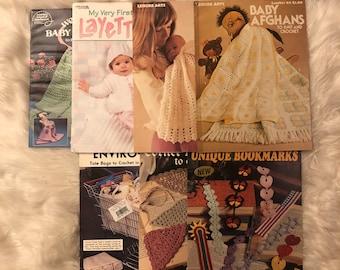 Lot of 8 Doll Baby Crochet Pattern Leaflets Craft books E