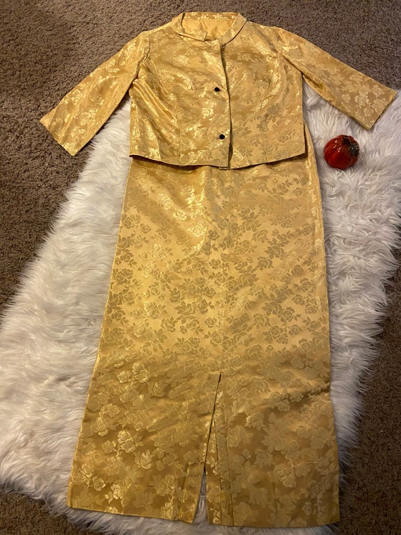 Vintage 60s handmade satin jacket and skirt