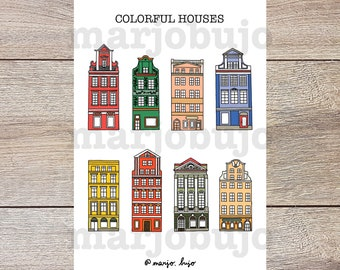 Printable Sticker Sheet - Colorful Houses - stickers, sticker sheet, printable, digital download, print at home, bullet journal stickers