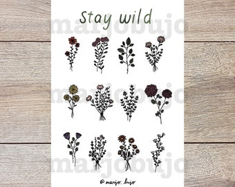 Printable Sticker Sheet - Stay Wild - stickers, sticker sheet, printable, digital download, print at home, bullet journal stickers, flowers