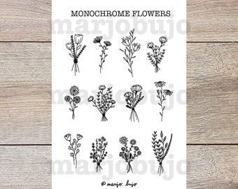 Printable Sticker Sheet - Monochrome Flowers - stickers, sticker sheet, printable, digital download, print at home, bullet journal stickers