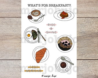 Printable Sticker Sheet - What's For Breakfast? - stickers, sticker sheet, printable, digital download, print at home, journal stickers