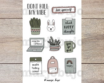 Printable Sticker Sheet - Don't Kill My Vibe - stickers, sticker sheet, printable, digital download, print at home, bullet journal stickers