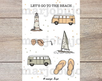 Printable Sticker Sheet - Let's Go To The Beach - stickers, sticker sheet, printable, digital download, print at home, bullet journal