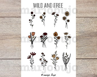 Printable Sticker Sheet - Wild And Free - stickers, sticker sheet, printable, digital download, print at home, bullet journal stickers
