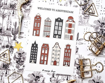 Welcome to Amsterdam - sticker sheet - planner stickers, bullet journal stickers, travel stickers, Amsterdam, city stickers, Holland