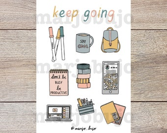 Printable Sticker Sheet - Keep Going - stickers, sticker sheet, printable, digital download, print at home, bullet journal stickers
