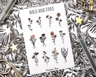 Wild and Free - sticker sheet - planner stickers, bullet journal stickers, scrapbook stickers, flower stickers, floral stickers, journaling
