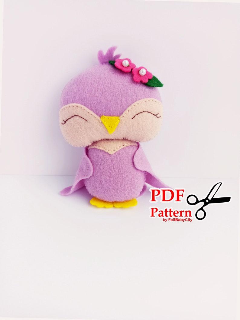 DIY felt pattern Plush sewing pattern PDF Felt pattern Pink bird sewing pattern Woodland pattern Soft toy pattern Stuffed animal pdf