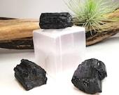 Raw Black Tourmaline, Grounding Stone, EMF Protection, Schorl, Crystal Grid, Energy Healing, Natural Black Tourmaline, Healing Stone
