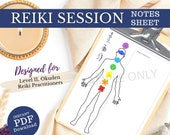 Reiki Session Notes Sheet, for Level 2 Reiki Practitioner, Okuden, Reiki Printable Template, Cho Ku Rei, Sei He Ki, Hon Sha Ze Sho Nen,