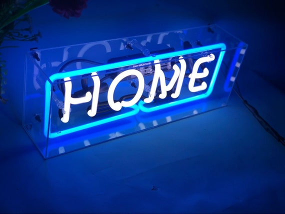 Neon Sign Custom Text In Box Neon Lights Desk Room Bar Home Decoration Hand Crafted Glass Neon Sign Gift Idea Neon Sign Box