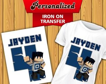 5cb790d0 Minecraft iron On Transfer, Minecraft Birthday Shirt, Minecraft DIY  Printable, Digital File