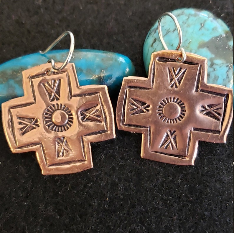 Hand-made Hand-stamped Southwestern Cross Earrings