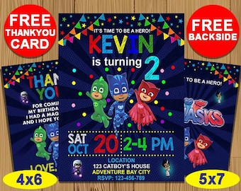 Pj Masks Birthday Invitation Invitations Party Printable