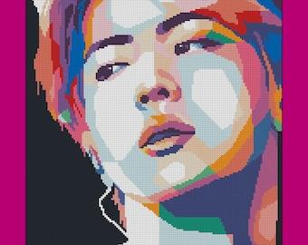 "Cross Stitch Pattern ""Jin pop art poster"", k-pop, PDF, digital, instant download"