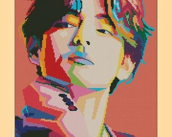 "Cross Stitch Pattern ""V pop art poster"", k-pop, PDF, digital, instant download"