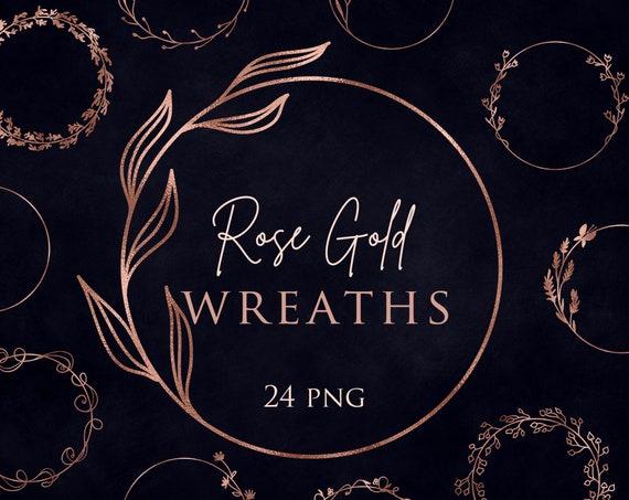 Rose Gold leaves Instant download 24 Rose Gold wreaths clip art Design elements Digital pack Floral overlays