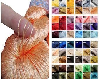 Viscose rayon silk yarn for crochet and knitting, vegan thin yarn, yarn for home decor, thin thread for embroidery and crochet jewellery