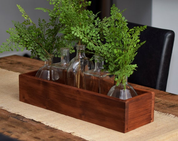Reclaimed Pine Planter Box - Rustic Wooden Centerpiece Box - Made from 100 Year Old Heart Pine Wood - Cabin Kitchen Decor. Country Wedding.