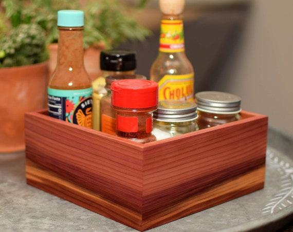 Cedar Wood Box - Rustic Home Decor - Housewarming Gift - 5th Anniversary Gift - Wooden Desk Caddy - Bathroom Kitchen Organization