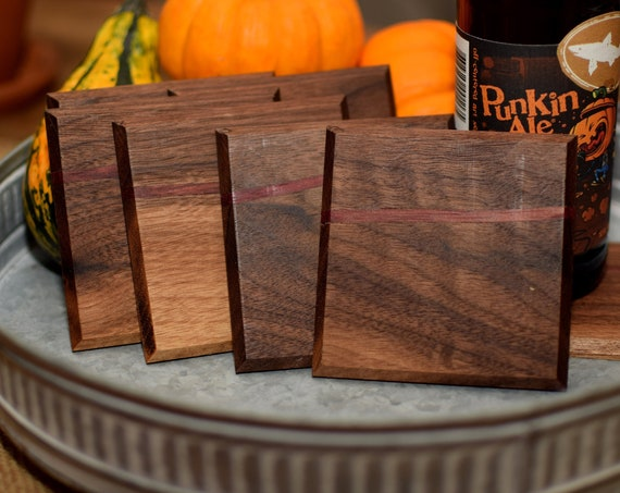 Walnut Wood Coasters - Set of 4 Wooden Coasters with Purple Stripe - Groomsmen Gift Box - Wedding Gift - Barware Accessory