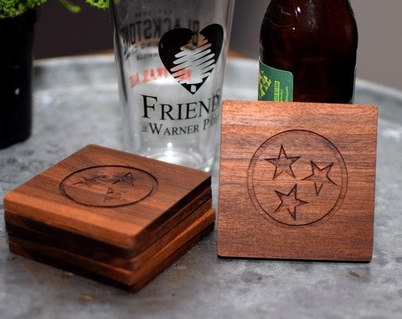 Tennessee Wood Coasters - Stars Coasters - Walnut Coasters - Tennessee Gift - Walnut Coasters - Wedding Gift - Housewarming Gift