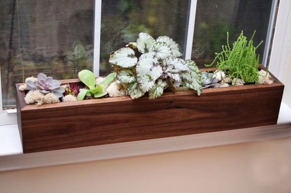 Custom Walnut Planter Box  for Succulents - (Size to fit your space)