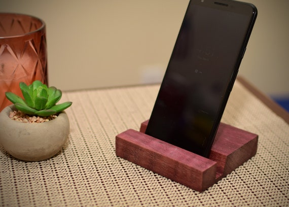 Exotic Wood Phone Stand - Wooden Cell Phone Holder - Desk Accessory - iPhone Lover Gift - Techy Gift