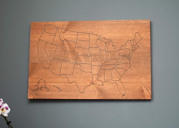 Rustic Wooden Map of United States. USA map with States Outlined. Farmhouse Decor Wall Hanging Map of U.S.A.