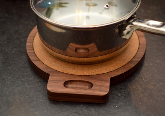 Hard Wood Trivet for Resting Pots. Walnut Wood with Cork. Perfect Chef Gift.
