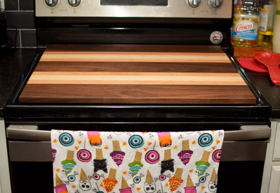 Custom Stove Cover Board, Handmade Hardwood Stove Top, Noodle Board. Real Cherry, Walnut, Maple. No stains. Food Safe.