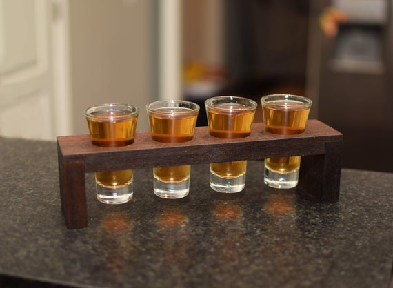 Walnut Shot Glass Caddy. Perfect for St Patricks Day. Beautiful Solid Walnut Wood with Four Shot Glasses. Great Bar Gift. Groomsmen Present.