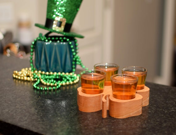 Shamrock Shot Glass Caddy. Perfect for St Patricks Day. Beautiful Solid Cherry Wood with Four Shot Glasses. Great Irish Party Accessory.