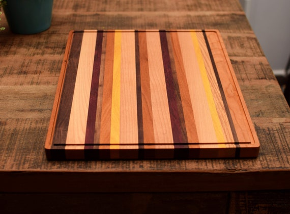 Candy Cane Hardwood Cutting Board with Juice Groove. Beautiful Serving Tray.