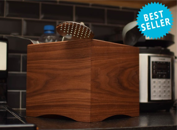Handmade Wooden Utensil Holder, Wooden Holder for Spatula or Cooking Tools, Wood Kitchen Organizer