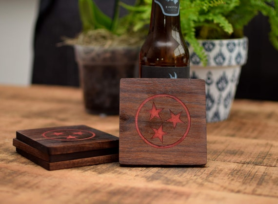 Tennessee TriStar Wood Coasters with Red Inlay Stars - Walnut Coasters - Tennessee Gift - Walnut Coasters - Wedding Gift - Housewarming Gift