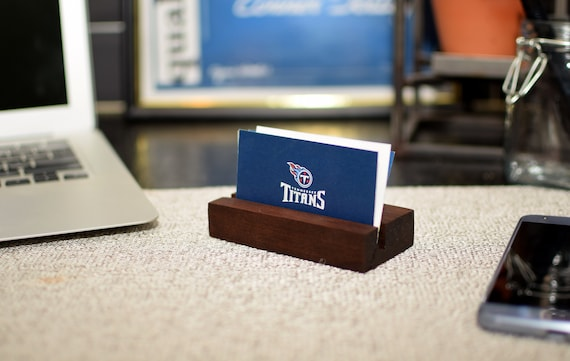 Wood Business Card Holder - Natural Wooden Card Stand - Perfect for Recipe Cards or Photographs - Dad Gifts - Desk Accessory