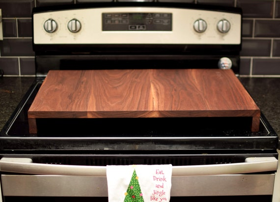 Solid Walnut Stove Cover Board. Handmade Hardwood Range Top Cover. Custom Made Noodle Board. Fine Furniture for Kitchen