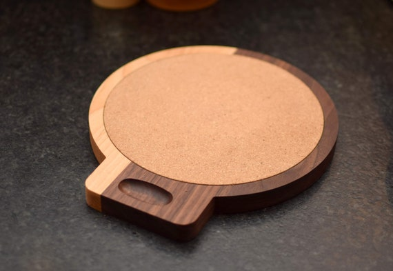 Hard Wood Trivet for Resting Pots. Cherry and Walnut Wood with Cork. Perfect Chef Gift.