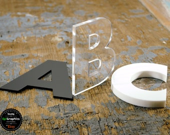 Mirror Art Craft Silver Acrylic Letters and Numbers 7.5cm