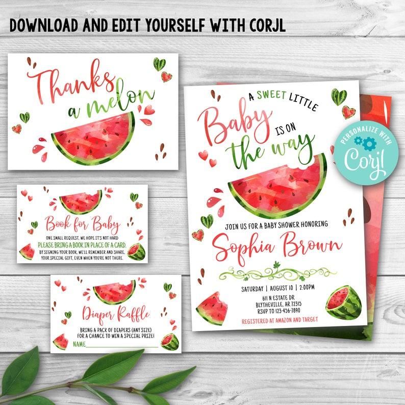 Watermelon Baby Shower Invitations